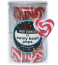 lOLLIPOPS sWIRLY rED hEART POPS 24 PK