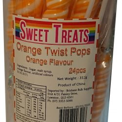Lollipops Twist Pops Orange 24 Pcs